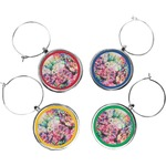 Watercolor Floral Wine Charms (Set of 4)