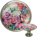 Watercolor Floral Cabinet Knob (Silver)