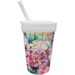 Watercolor Floral Sippy Cup with Straw