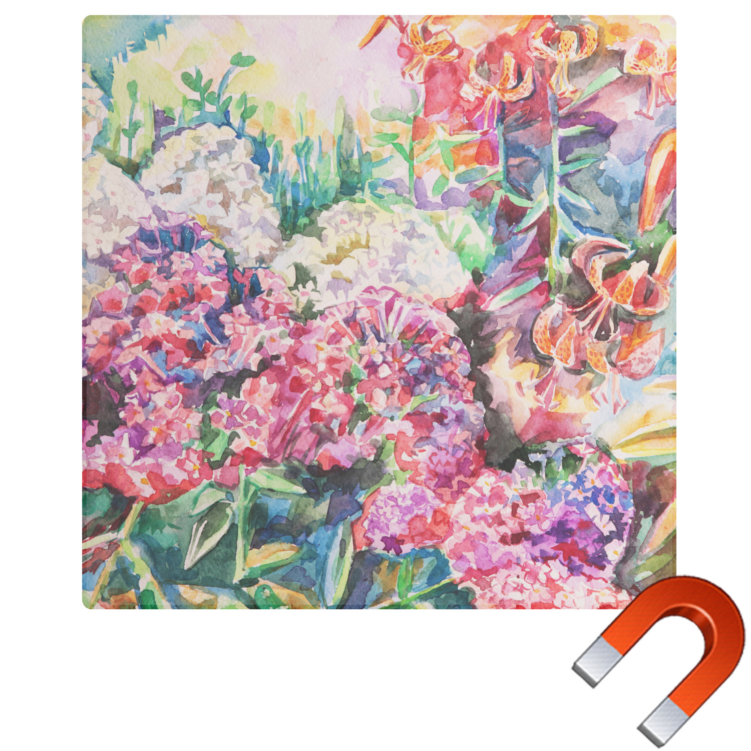 Watercolor Floral Square Car Magnet You Customize It - Make a custom car magnet