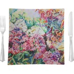 """Watercolor Floral Glass Square Lunch / Dinner Plate 9.5"""" - Single or Set of 4"""