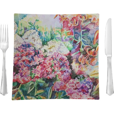 """Watercolor Floral 9.5"""" Glass Square Lunch / Dinner Plate- Single or Set of 4"""