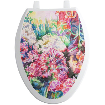 Watercolor Floral Toilet Seat Decal - Elongated