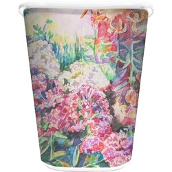 Watercolor Floral Waste Basket - Double Sided (White)