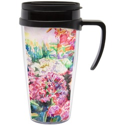 Watercolor Floral Travel Mug with Handle