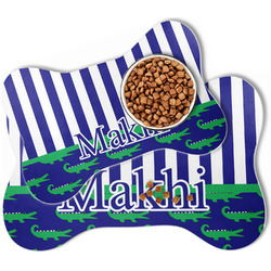 Alligators & Stripes Bone Shaped Dog Food Mat (Personalized)