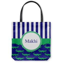 Alligators & Stripes Canvas Tote Bag (Personalized)