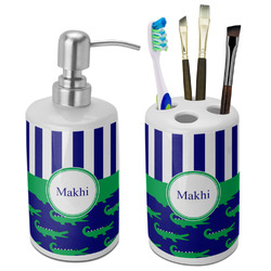 Alligators & Stripes Ceramic Bathroom Accessories Set (Personalized)