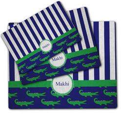 Alligators & Stripes Dog Food Mat w/ Name or Text