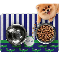 Alligators & Stripes Dog Food Mat - Small w/ Name or Text