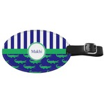 Alligators & Stripes Genuine Leather Oval Luggage Tag (Personalized)