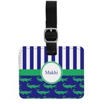 Alligators & Stripes Genuine Leather Rectangular  Luggage Tag (Personalized)