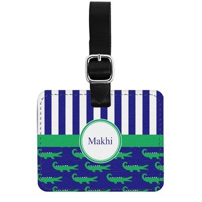 Alligators & Stripes Genuine Leather Luggage Tag w/ Name or Text