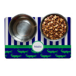 Alligators & Stripes Dog Food Mat (Personalized)