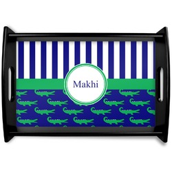 Alligators & Stripes Black Wooden Tray (Personalized)