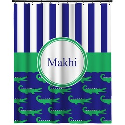 """Alligators & Stripes Extra Long Shower Curtain - 70""""x84"""" (Personalized)"""