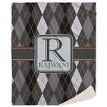 Modern Chic Argyle Sherpa Throw Blanket (Personalized)