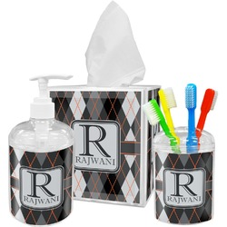 Modern Chic Argyle Acrylic Bathroom Accessories Set w/ Name and Initial