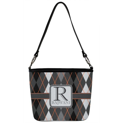 Modern Chic Argyle Bucket Bag w/ Genuine Leather Trim (Personalized)