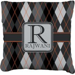 Modern Chic Argyle Faux-Linen Throw Pillow (Personalized)