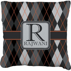 Modern Chic Argyle Burlap Throw Pillow (Personalized)