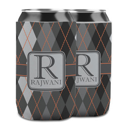 Modern Chic Argyle Can Cooler (12 oz) w/ Name and Initial