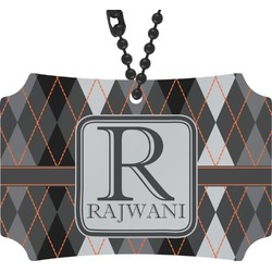 Modern Chic Argyle Rear View Mirror Ornament (Personalized)