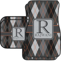Modern Chic Argyle Car Floor Mats Set - 2 Front & 2 Back (Personalized)