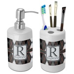 Modern Chic Argyle Bathroom Accessories Set (Ceramic) (Personalized)
