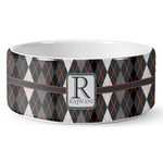 Modern Chic Argyle Ceramic Dog Bowl (Personalized)