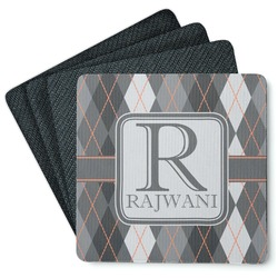 Modern Chic Argyle 4 Square Coasters - Rubber Backed (Personalized)
