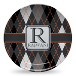 Modern Chic Argyle Microwave Safe Plastic Plate - Composite Polymer (Personalized)