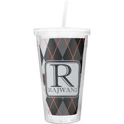 Modern Chic Argyle Double Wall Tumbler with Straw (Personalized)