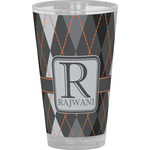 Modern Chic Argyle Drinking / Pint Glass (Personalized)