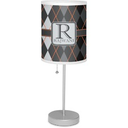 """Modern Chic Argyle 7"""" Drum Lamp with Shade Polyester (Personalized)"""