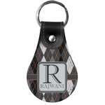 Modern Chic Argyle Genuine Leather  Keychain (Personalized)