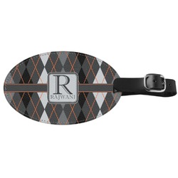 Modern Chic Argyle Genuine Leather Oval Luggage Tag (Personalized)