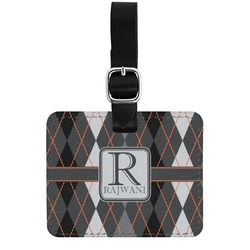 Modern Chic Argyle Genuine Leather Rectangular  Luggage Tag (Personalized)