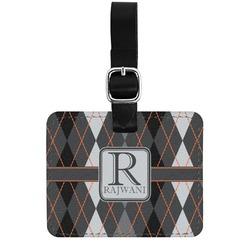 Modern Chic Argyle Genuine Leather Rectangular  Luggage Tag (Personalized)