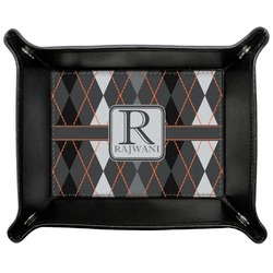 Modern Chic Argyle Genuine Leather Valet Tray (Personalized)
