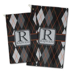 Modern Chic Argyle Golf Towel - Full Print w/ Name and Initial