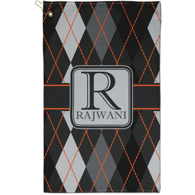 Modern Chic Argyle Golf Towel - Full Print - Small w/ Name and Initial
