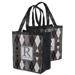 Modern Chic Argyle Grocery Bag (Personalized)