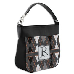 Modern Chic Argyle Hobo Purse w/ Genuine Leather Trim (Personalized)