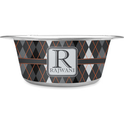 Modern Chic Argyle Stainless Steel Dog Bowl (Personalized)