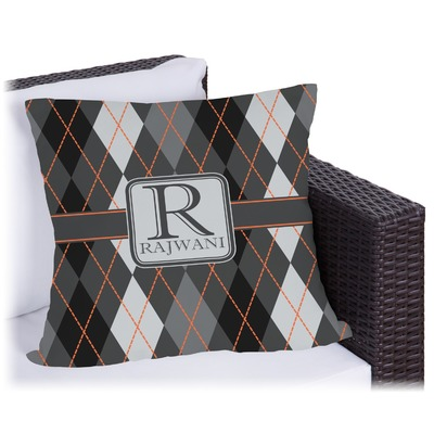 Modern Chic Argyle Outdoor Pillow (Personalized)