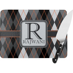Modern Chic Argyle Rectangular Glass Cutting Board (Personalized)
