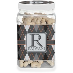Modern Chic Argyle Pet Treat Jar (Personalized)