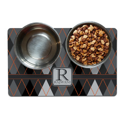 Modern Chic Argyle Pet Bowl Mat (Personalized)