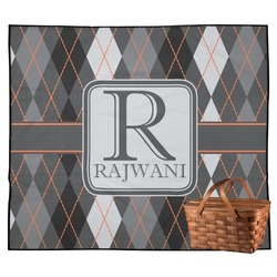 Modern Chic Argyle Outdoor Picnic Blanket (Personalized)